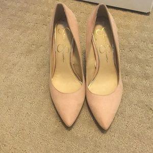Blush suede high heels